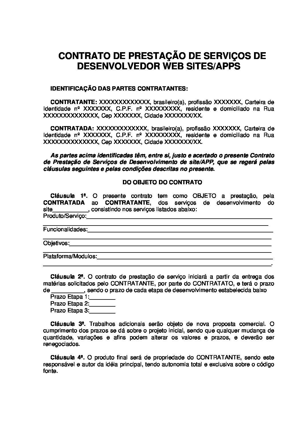 Contrato de Serviço de Desenvolvedor de Site/APP