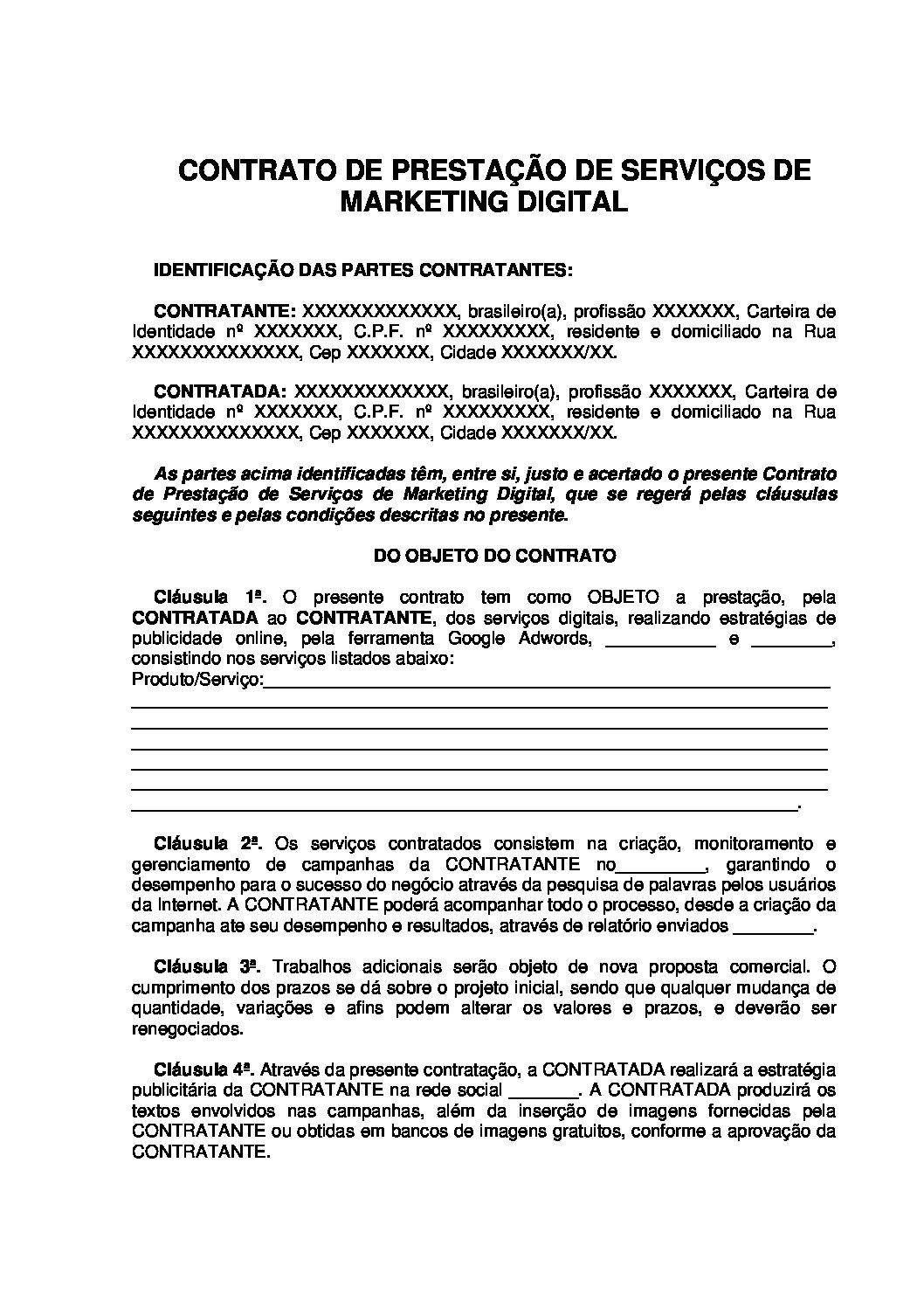 Contrato de Prestação de Serviço de Marketing Digital