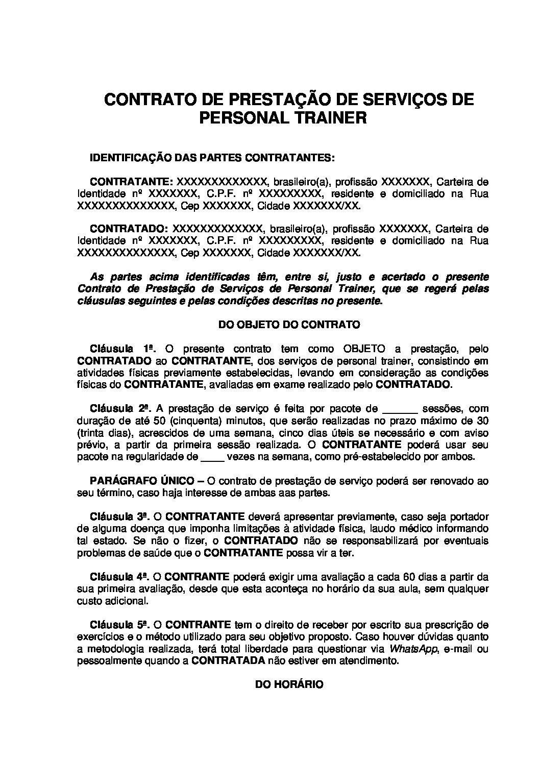 Contrato de Prestação de Serviços de Personal Trainer