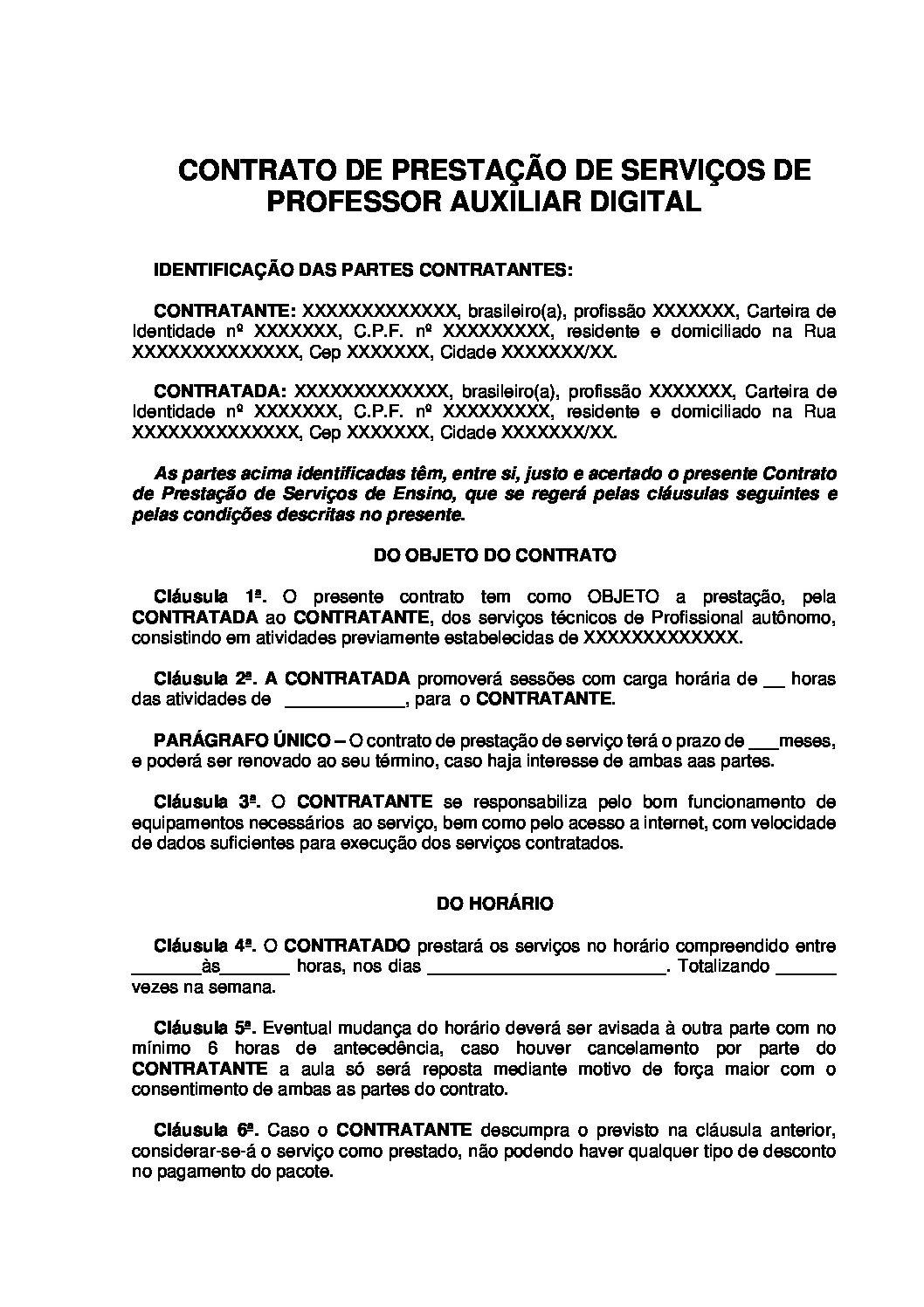 Contrato de Serviços de Professor Auxiliar Digital