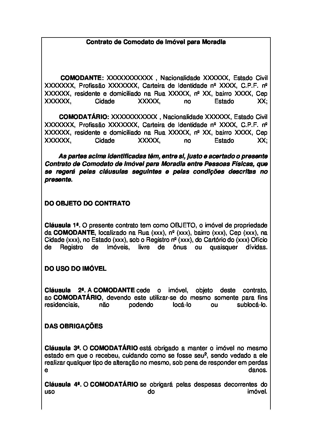 Contrato de Comodato de Imóvel para Moradia