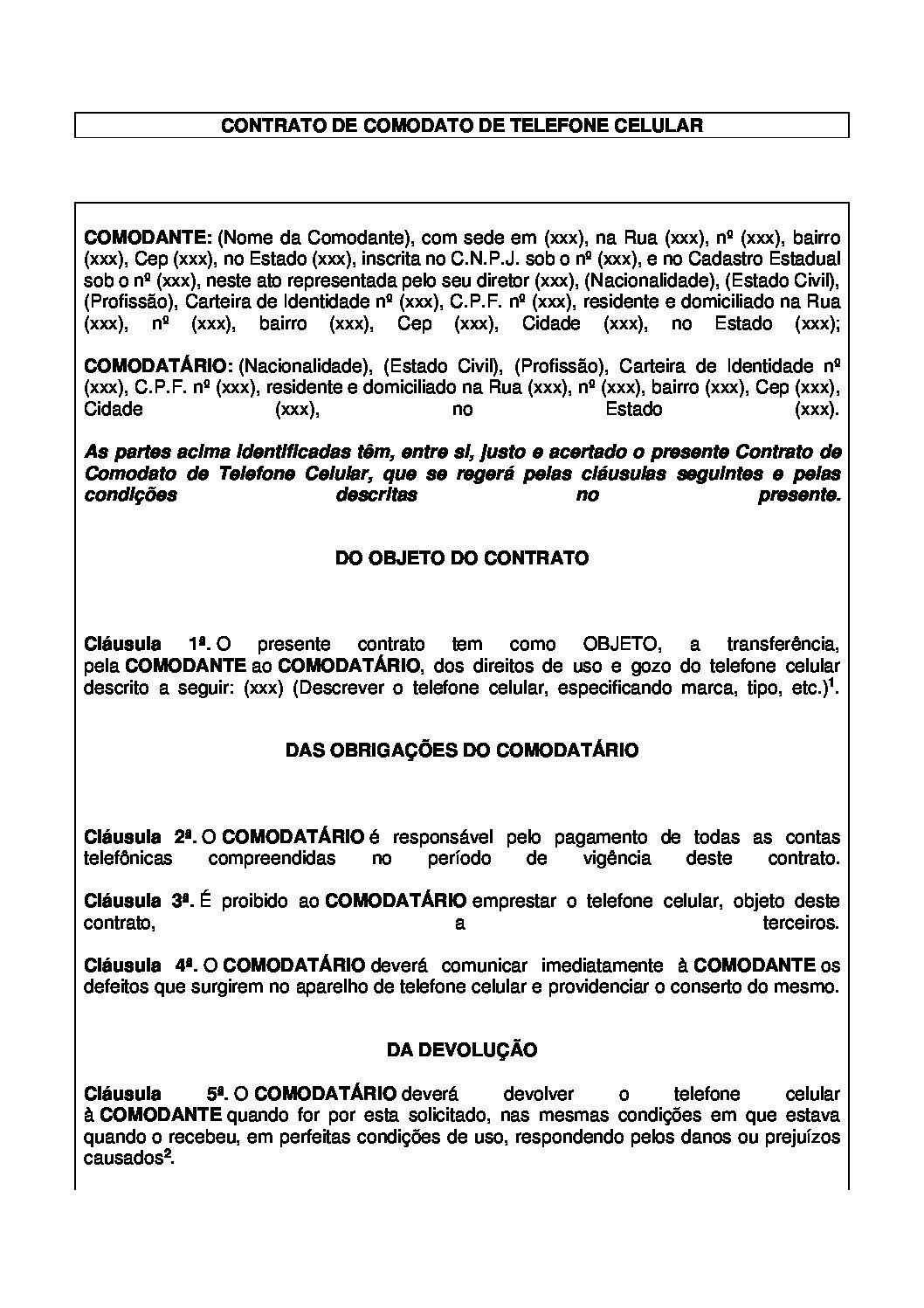 Contrato de Comodato Telefone Celular