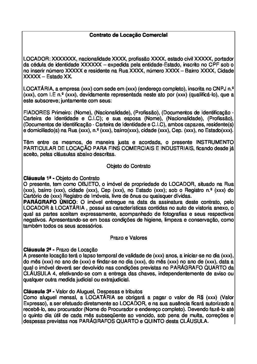 Contrato de Locação Imóvel Comercial