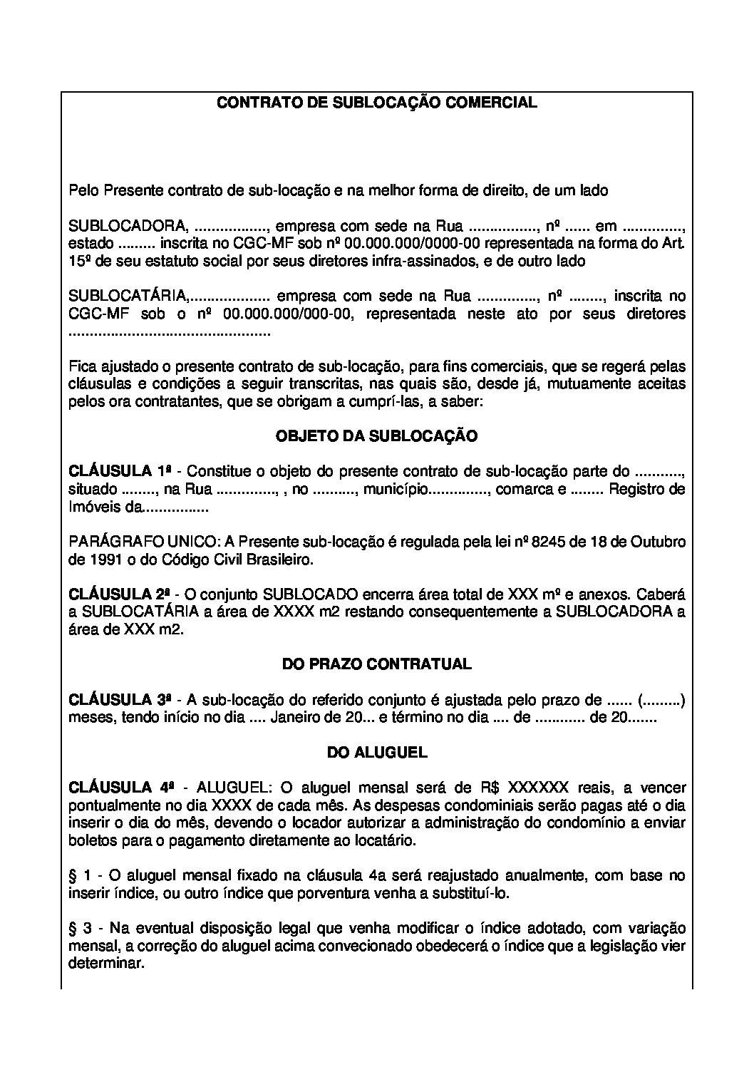Contrato de Sublocação Comercial