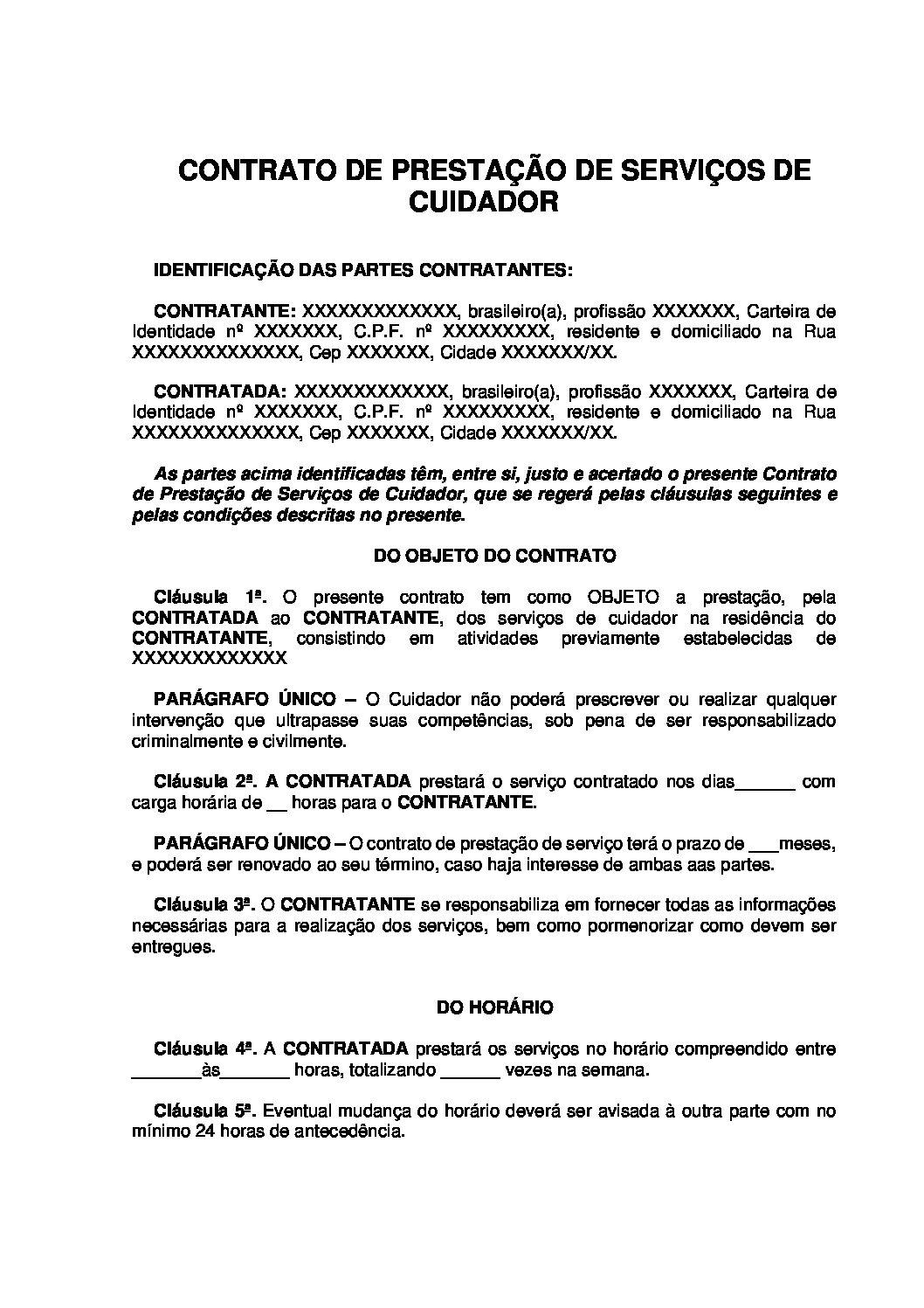 Contrato de Prestação de serviços de Cuidador