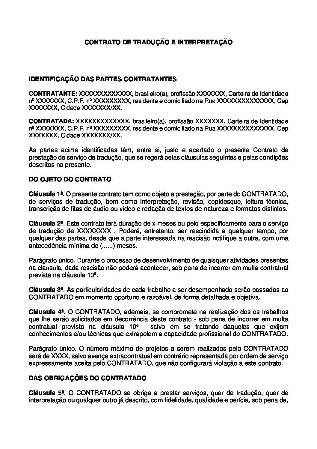 Contrato de Tradução e Interpretação