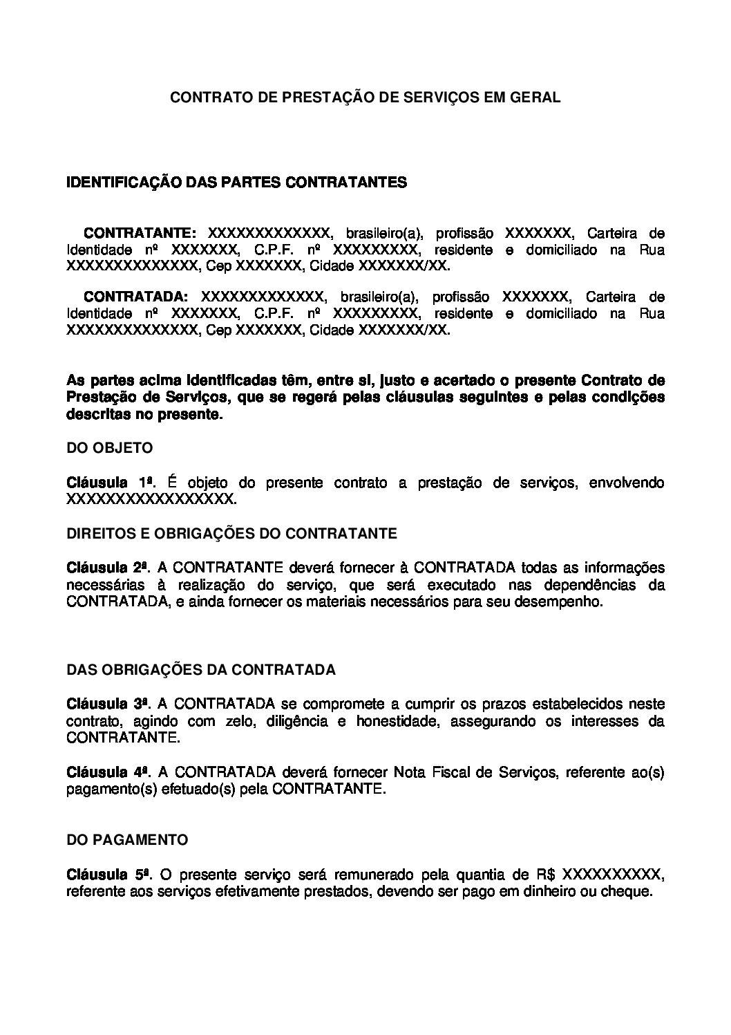 Contrato de Prestação de Serviços em Geral