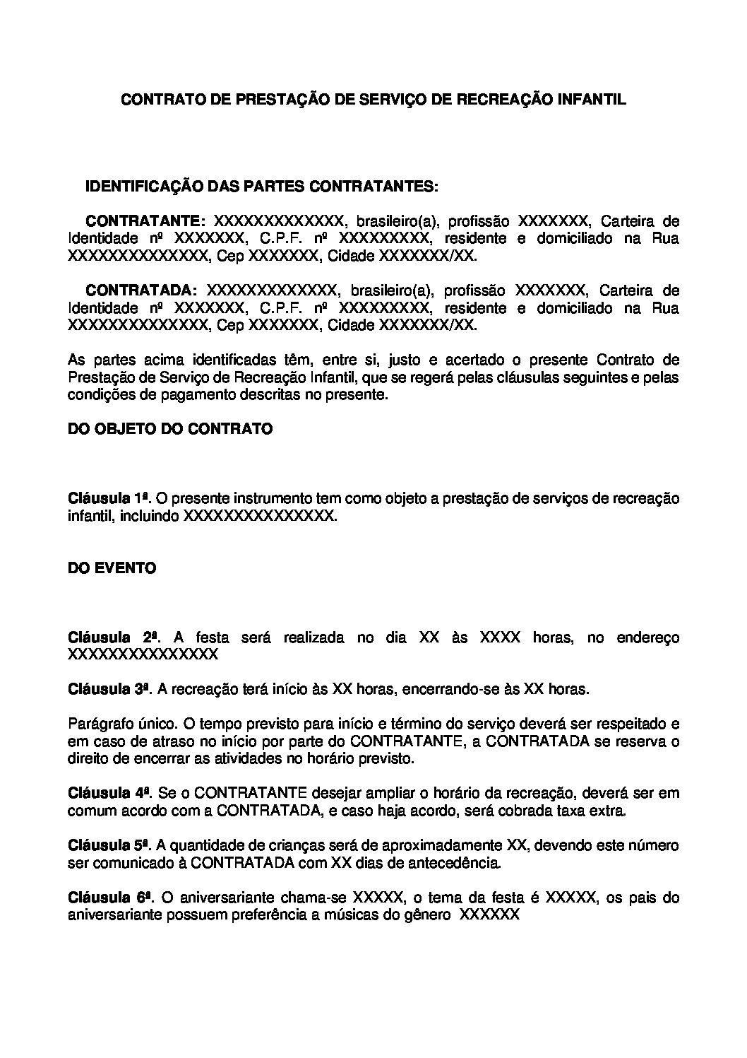 Contrato de Prestação de Serviço de Recreação Infantil