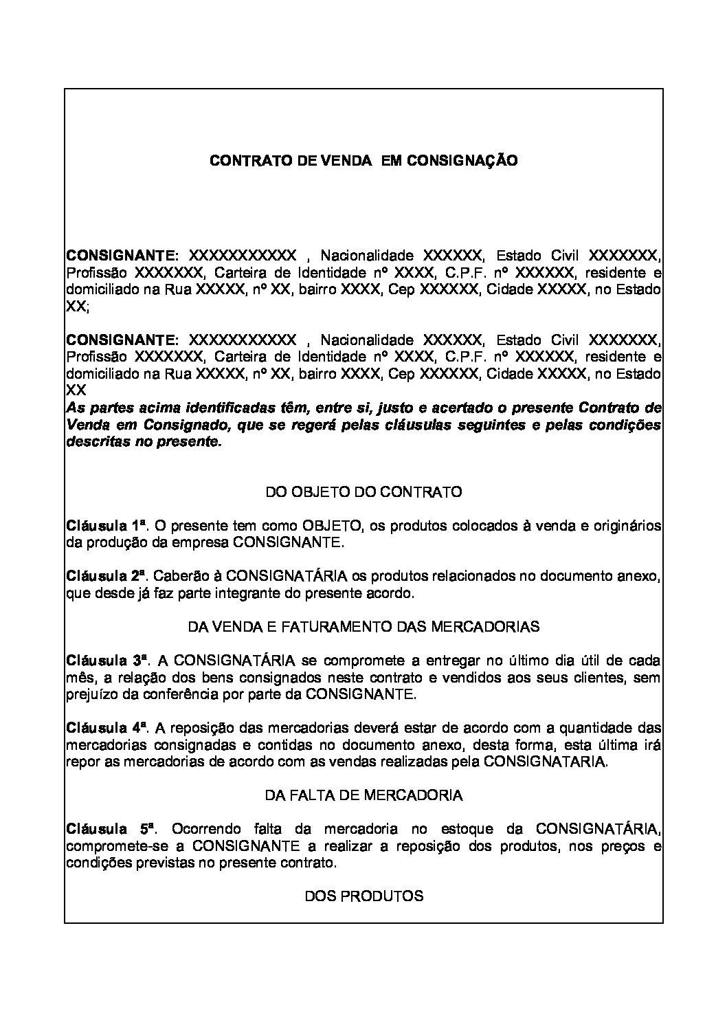 Contrato de Venda em Consignação