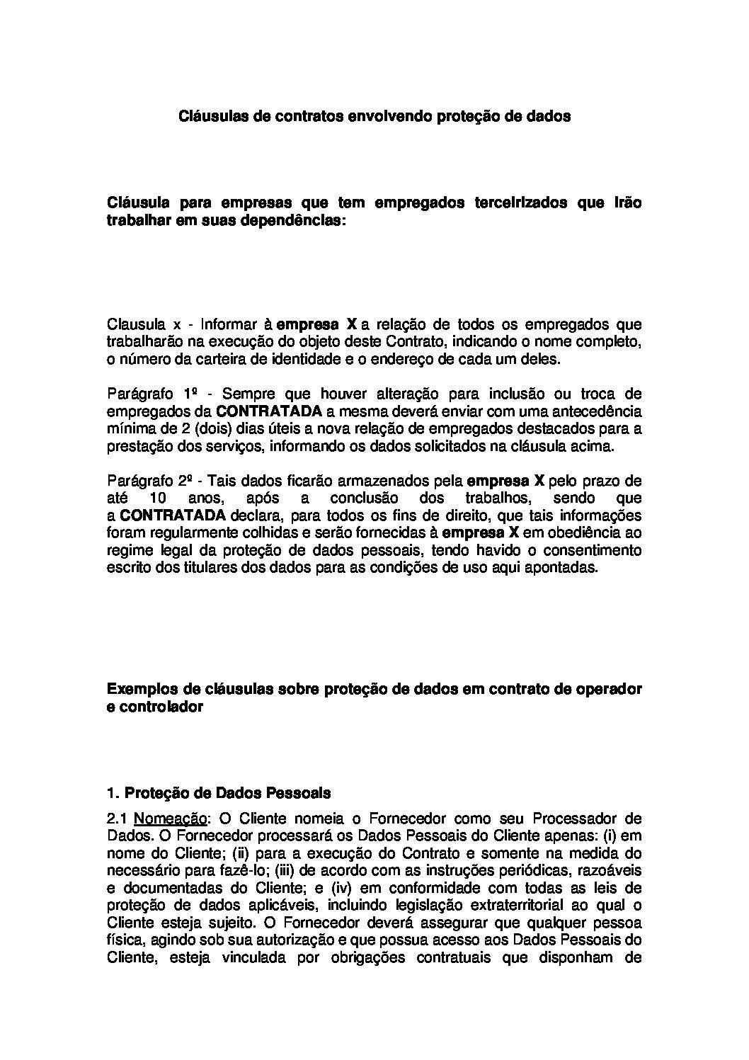 Aditivos contratuais para LGPD
