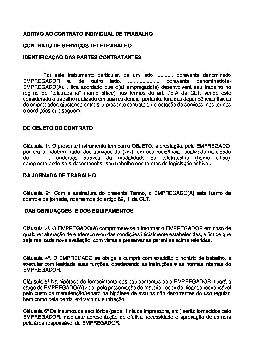 Aditivo de Contrato de Home Office – Teletrabalho