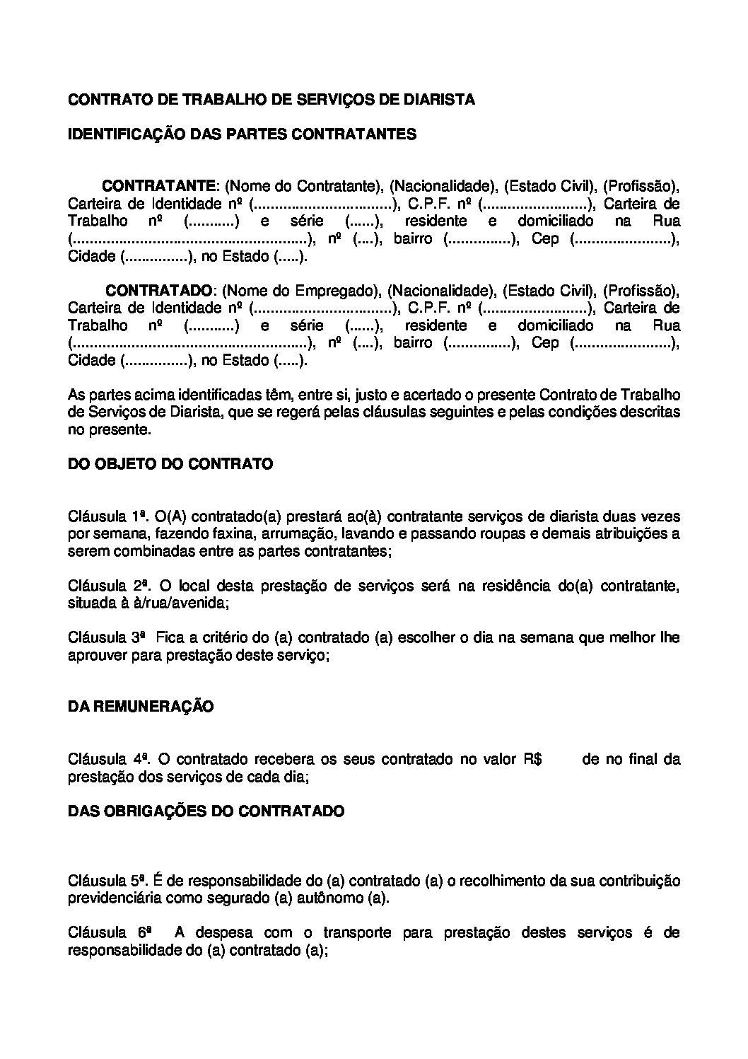 Contrato de Trabalho Empregada Diarista