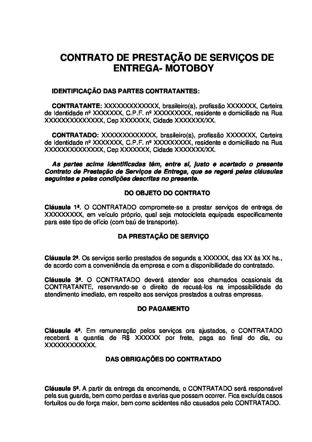 Contrato de Prestação de Serviços de Entrega – Motoboy