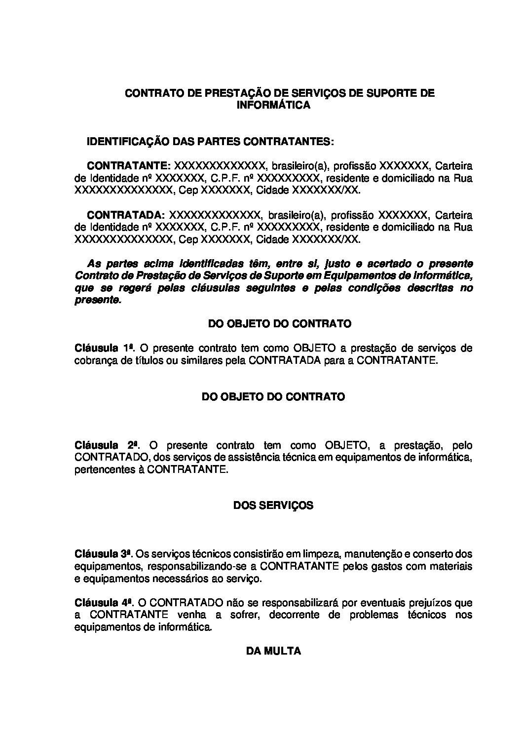 Contrato de Prestação de Serviços de Suporte de Informática